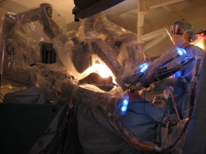 The Da Vinci surgical robot in action